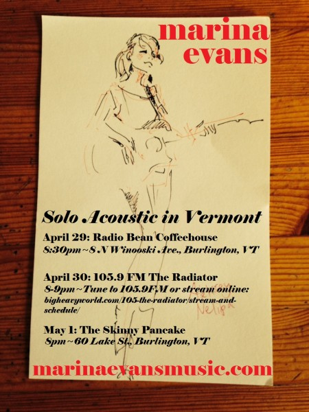 Marina Solo Acoustic in VT_April 2014 poster